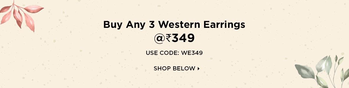 Buy Any 3 Western Earrings @Rs 349