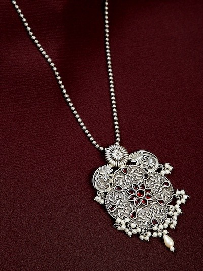 Antique Silver Plated White Pearls and Red Gemstones Studded Brass Matinee Necklace