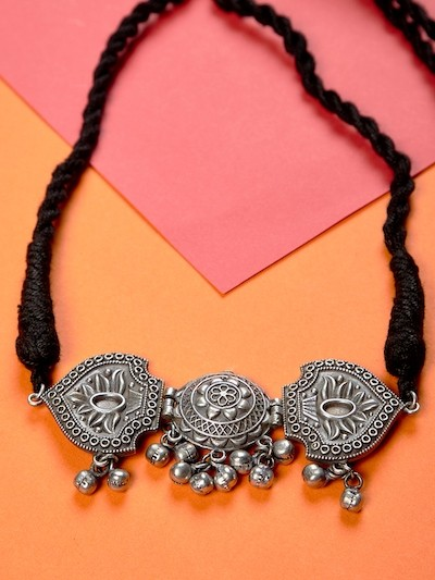 Antique Silver Plated Brass Choker Necklace