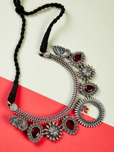 Antique Silver Plated Red Gemstones Studded Brass Choker Necklace