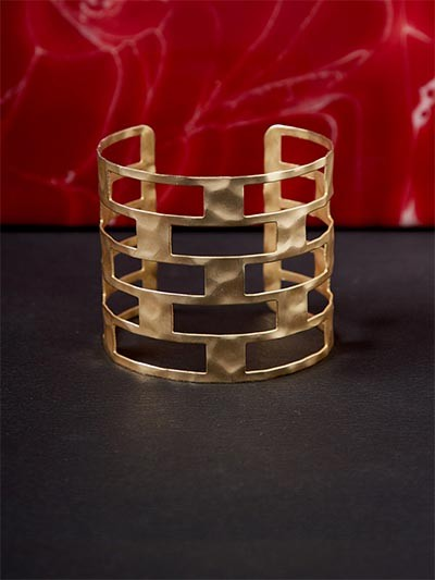 Classic Patterned Golden Cuff Bracelet
