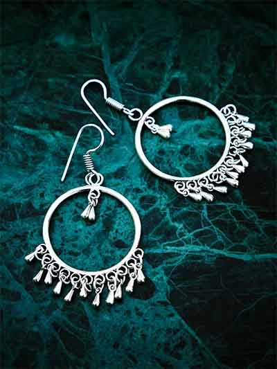 Oxidized Silver Bali Earrings