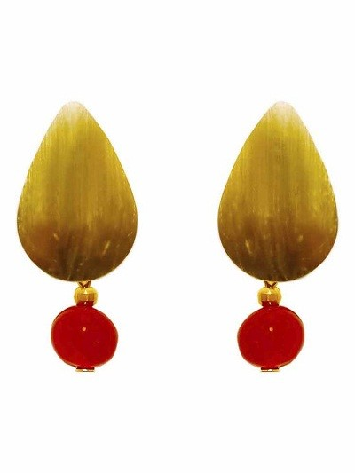 Wooden Red Agate Drop Handmade Jewellery Earrings