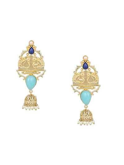 Cubic Zirconia Brass and Turquoise Stone Handmade Jewellery Earrings