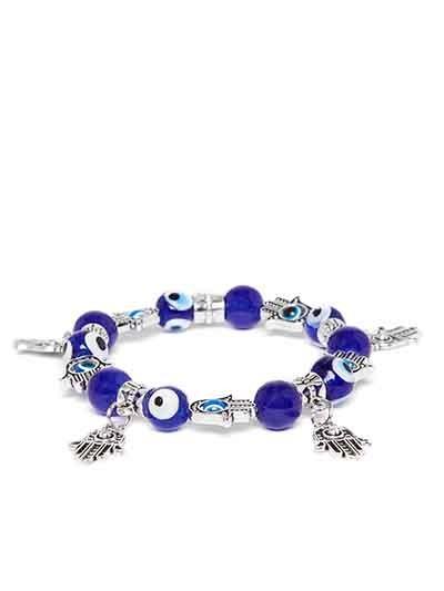 Blue Beaded Hands of Allah Charm Bracelet