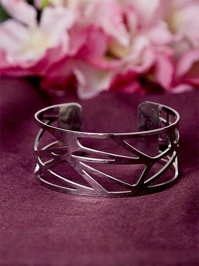 Patterned Silver Cuff Bracelet