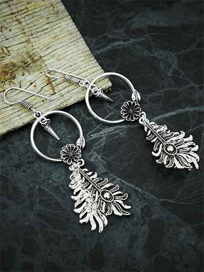 Floral Oxidized Silver Bali Earrings