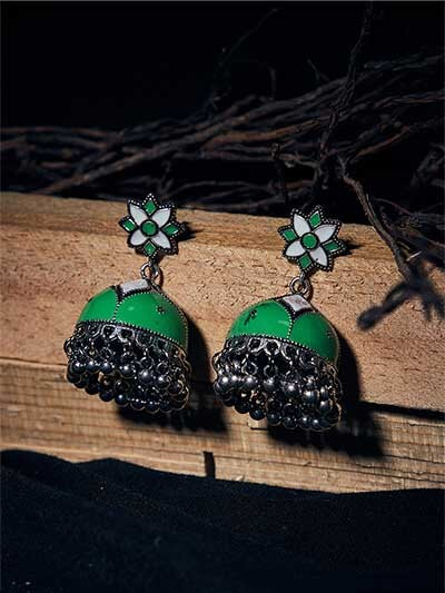 Green and White Meenakari Jhumkas
