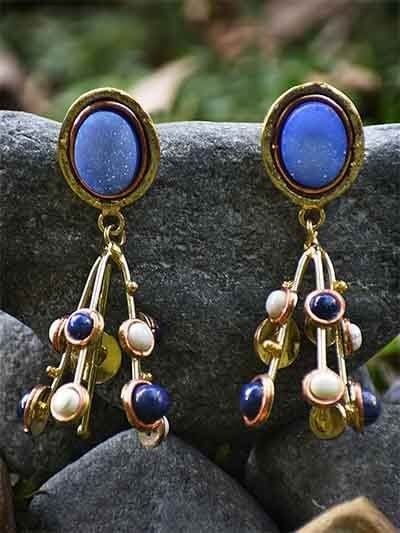 Blue Druzy, Lapis Lazuli and Howlite Handmade Jewellery Earrings