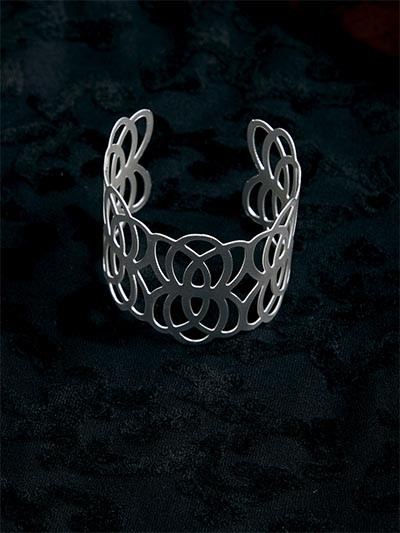Classic Patterned Silver Cuff Bracelet