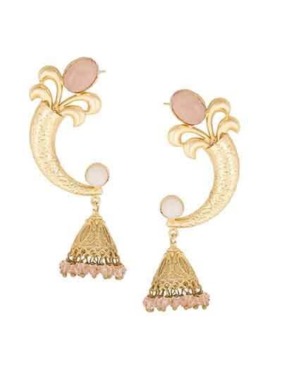 Designer Party Wear Rose Stone Studded Brass Party Wear Earrings