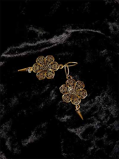 Short Golden Flower Earrings