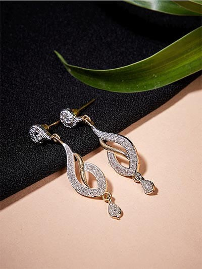 Fancy American Diamond Leaf Earrings