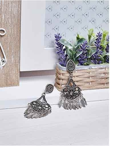 Floral Designer Tribal Jewellery Danglers With Hanging Leaves