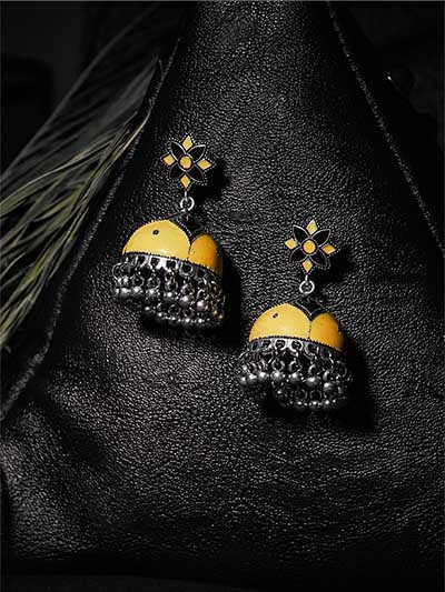 Black and Yellow Meenakari Jhumki Earrings