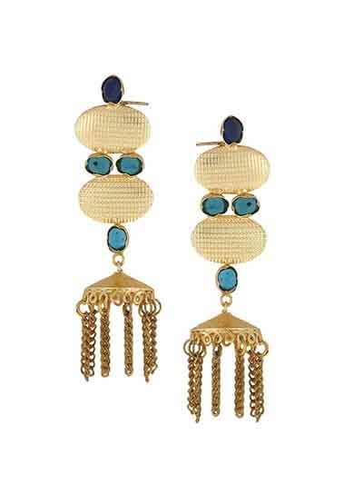Dangle Chain Brass Party Wear Earrings