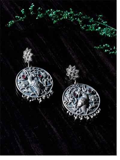 Silver Plated Brass Peacock Earrings