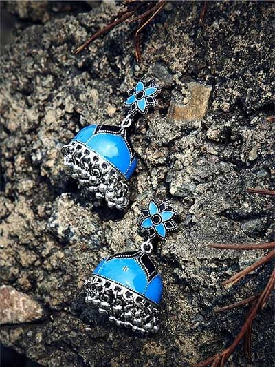 Floral Blue Meenakari Jhumki Earrings