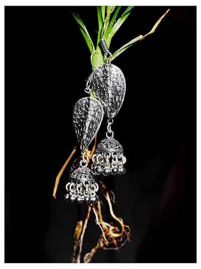 Distorted Leaf Tribal Jewellery Long Jhumkis With Hanging Silver Bells