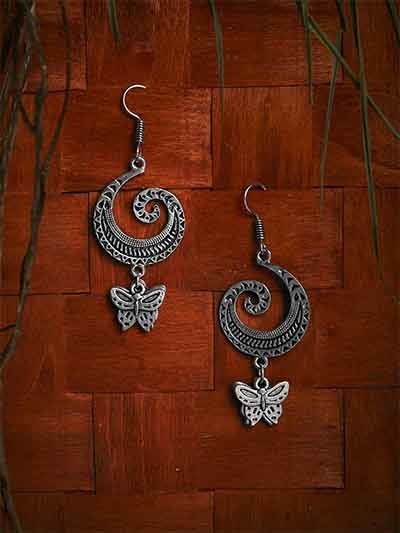 Oxidized Silver Butterfly Earrings