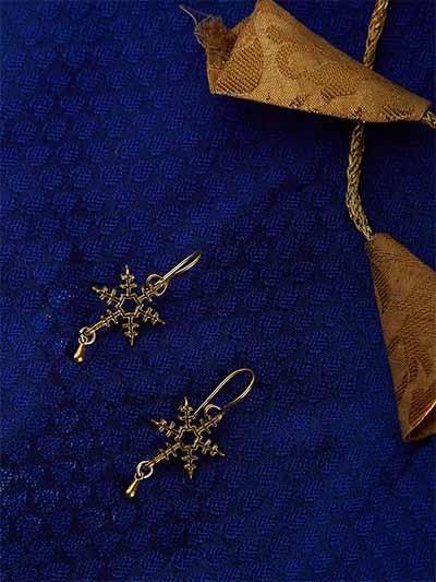 Short Golden Star Earrings