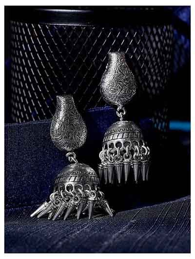 Patterned Tribal Jewellery Long Jhumkis With Pretty Little Hanging Trinkets