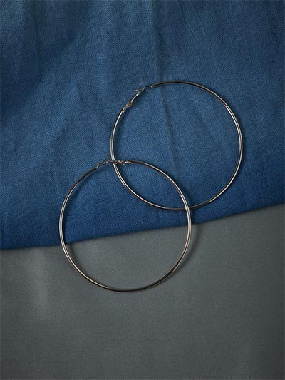 Big Metallic Silver Hoop Earrings
