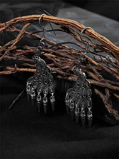 Oxidized Silver Peacock Earrings