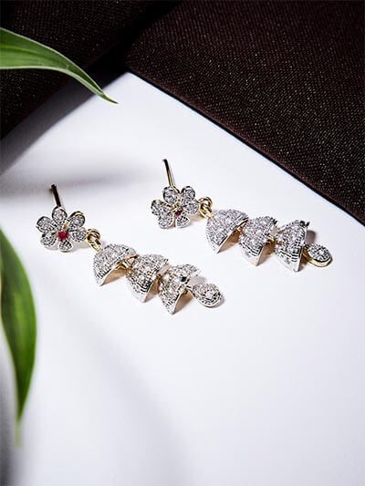 American Diamond Chandelier Dangle Earrings