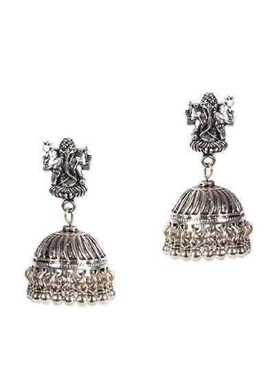Ganesha Tribal Jewellery Silver Jhumka Earrings