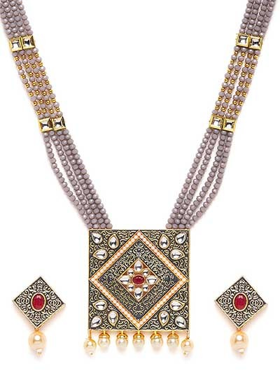 Grey Kundan Studded Meenakari Gold-Plated Jewellery Set