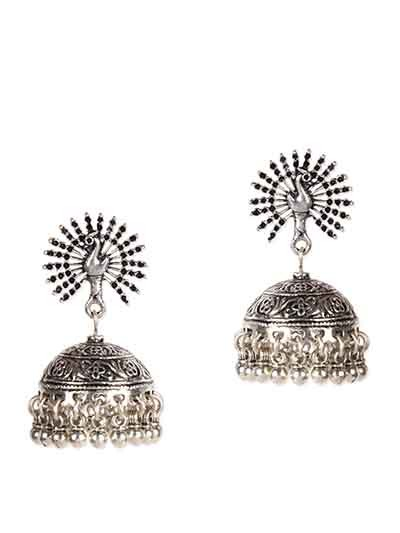 Mor Silver Jhumka Earrings