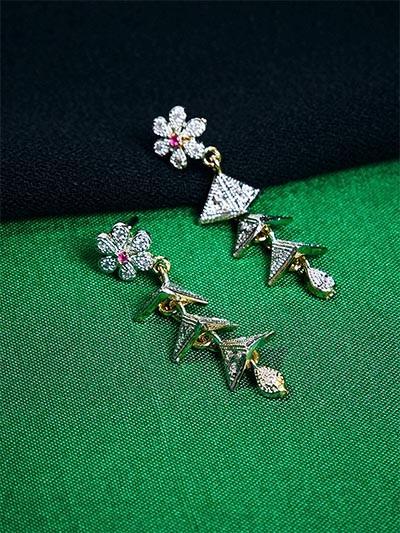 American Diamond Flower Dangle Earrings with Red Stone