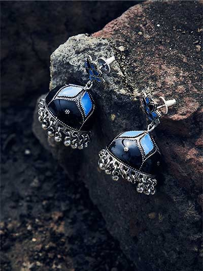 Shades of Blue Meenakari Jhumki Earrings