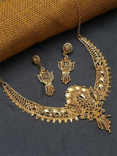 Golden Peacock Necklace Set with Floral Motifs