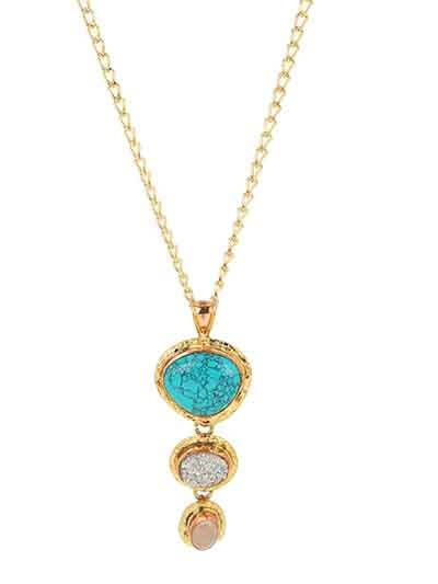 Three Round Long Pendant Chain Fashion Necklace