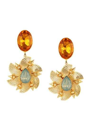 Swirling magic Topaz and Lake Blue Opal Designer Kitschy Baroque Brass Party Wear Earrings