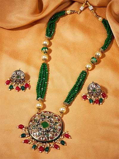 Green Meenakari Gold-Plated Jewellery Set