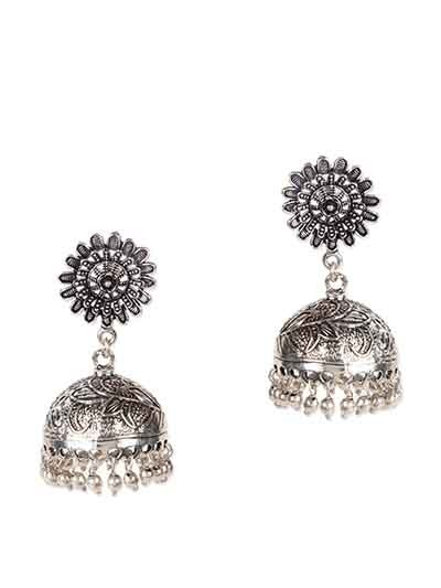 Surya Tribal Jewellery Silver Jhumka Earrings