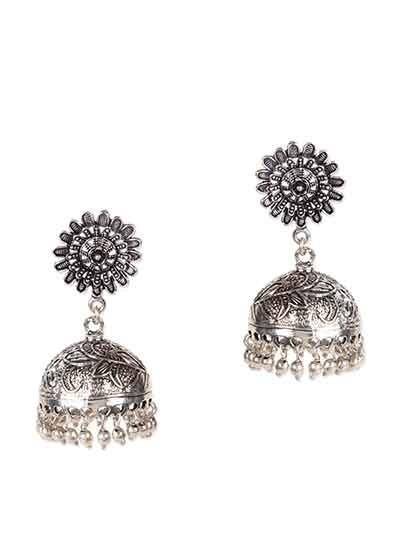 Surya Tribal Jewellery Silver Jhumka Earrings