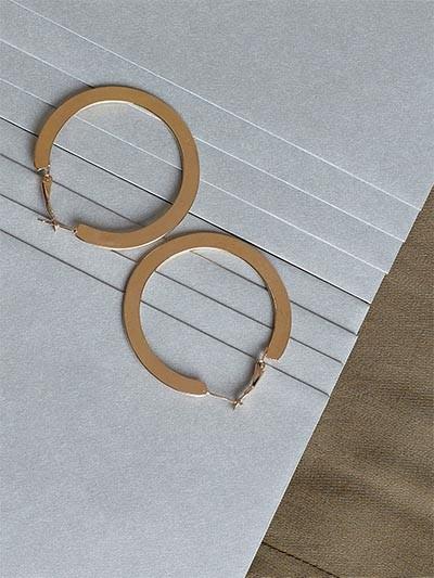 Golden Flat Hoop Earrings