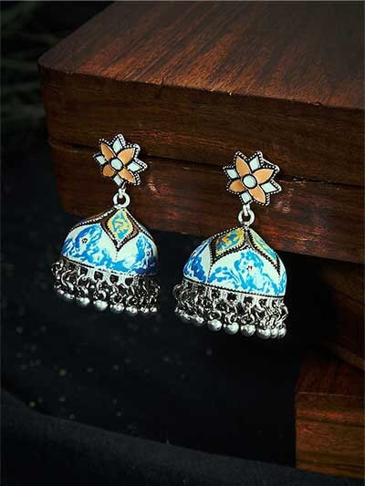 Patterned Blue and Orange Meenakari Jhumki Earrings
