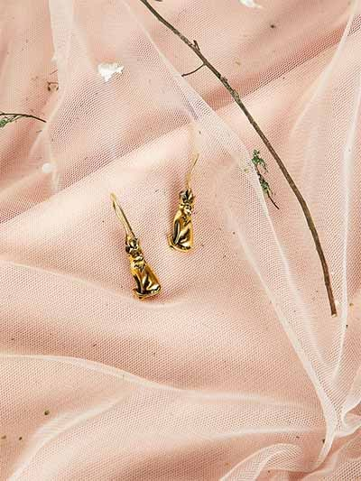 Short Golden Tiger Earrings