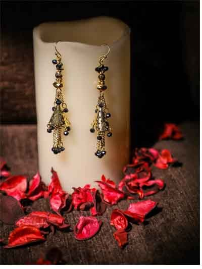 Alloy Metal Electric Blue Dangler Western Earrings for Women and Girls