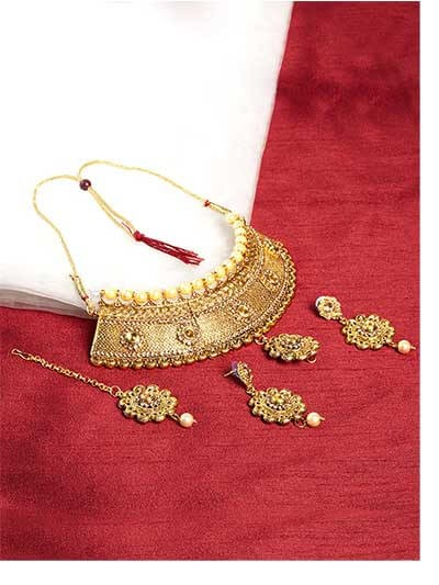 Golden Wedding Necklace Set For Women