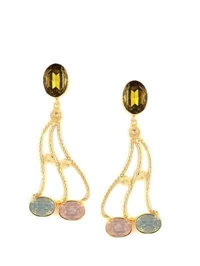 Multicolored Designer Brass Dangle Earrings For Women