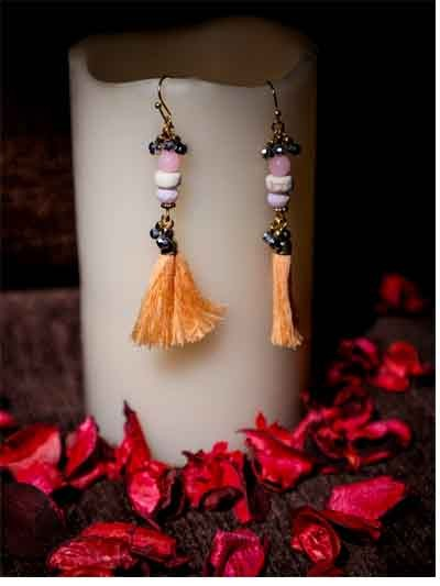 Alloy Metal Dangler Tassel Western Earrings
