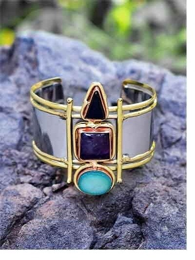 Brass Cuff Studded With Druzy & Amethyst Gemstones