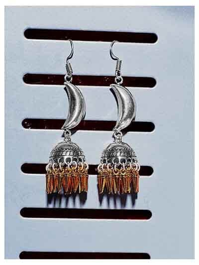Crescent Silver Tribal Jewellery Long Jhumkis With Golden Hangings