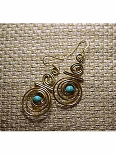 Tribal Gold and Turquoise Danglers